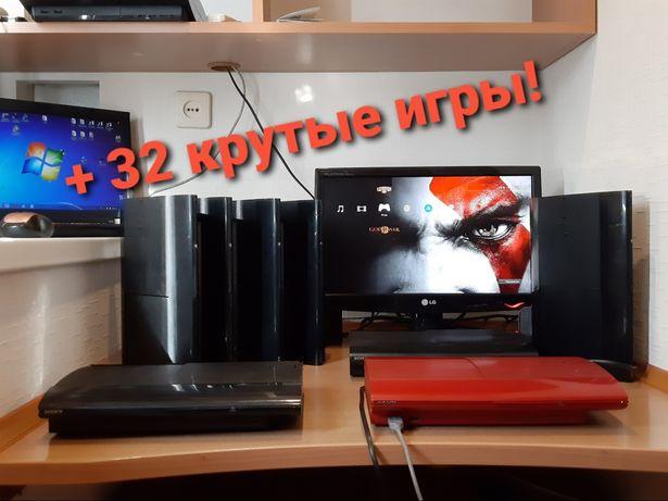 PS3 Super slim 500gb + 32 игры Playstation3 GTA5 Minecraft FIFA18
