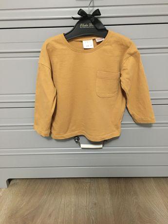 Bluzka Zara 92 musztardowa ochra kieszonka długi rękaw