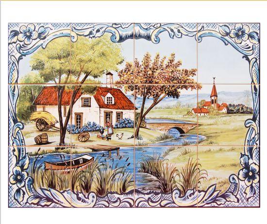 NOVO Painel Azulejos Paisagem Casa de Campo Lago Riacho 60x45cm Aldeia