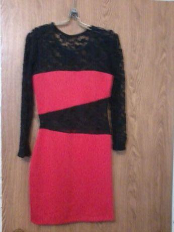 Платье красное-черное яркое и нарядное