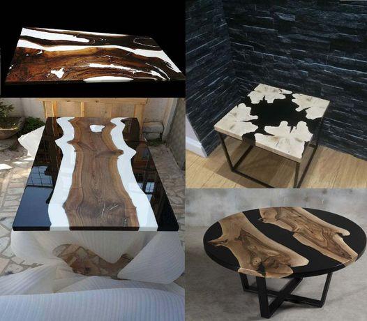 Стол с деревом и эпоксидкой на заказ