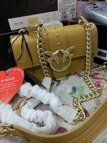 Продам сумку Pinko/ оригінал / на цепочці / сумка жовтого кольору