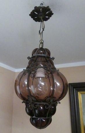 Fioletowa Lampa wisząca żyrandol szkło MURANO