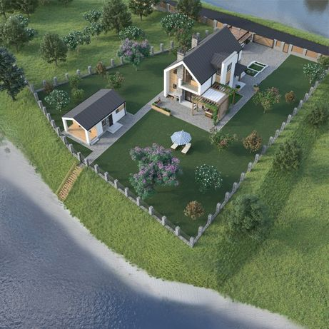 Сучасний будинок 200 кв.м. на березі річки 8 км від Київа / Дом