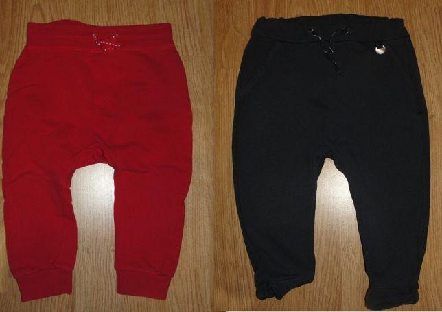 2 pary spodni-spodnie dresowe-dresy H&M 80 cm-czerwone-granatowe