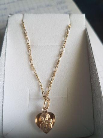 Łańcuszek damski splot Figaro 50cm, złoto pr.585+zawieszka dwustronna!