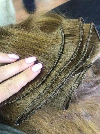 Пошив тресс из натуральных волос на заколках хвосты на ленте