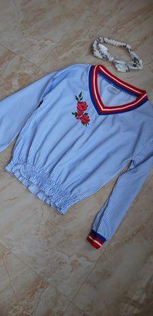 Bluzka Dziewczęca Damska 152 cm kwiaty d-xel