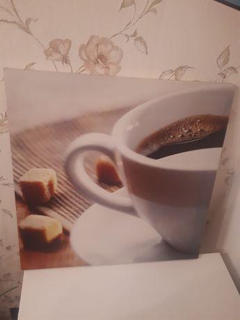 Kwadratowe obrazki z płótna  na drewnianej ramce