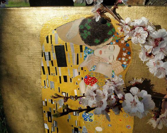 """Картина маслом, репродукция Густав Климт """"Поцелуй"""". Холст, масло."""