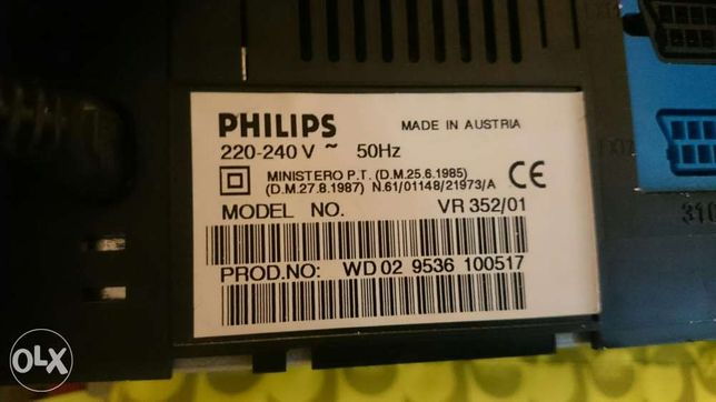 Leitor de vídeo cassetes Philips