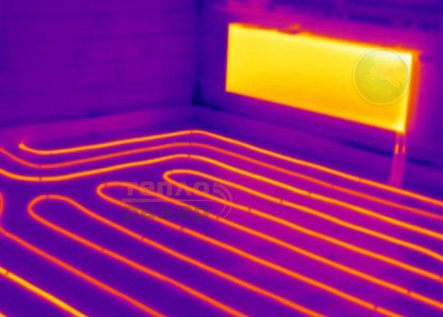 Тепловизор. Обнаружение мест прорыва труб отопления и воды.