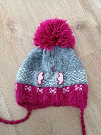 Bardzo ciepła czapka dla dziewczynki 98