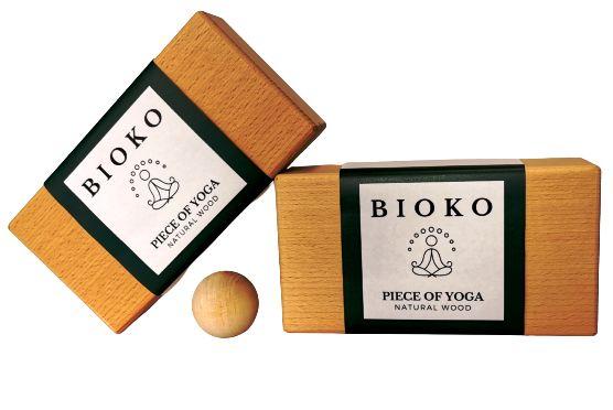 Zestaw kostka do jogi dwie sztuki drewniane + piłka do masażu gratis!