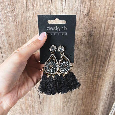 Czarne eleganckie wiszące kolczyki frędzle cyrkonie ASOS designb