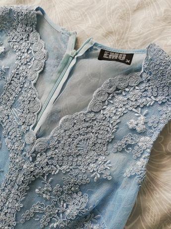 Sukienka maxi blue koronka