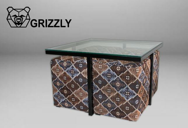 Журнальний столик з пуфами(loft)