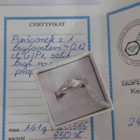 Złoty pierścionek z brylantem 1,61g/585p/wysyłka/LOMBARD Raków