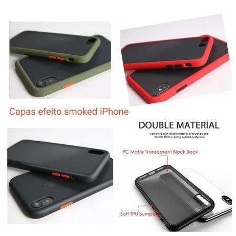 Capa P/ iPhone 7/8/7 Plus/8 Plus/X/XS/XR/11/11 Pró Max -Efeito Smoked