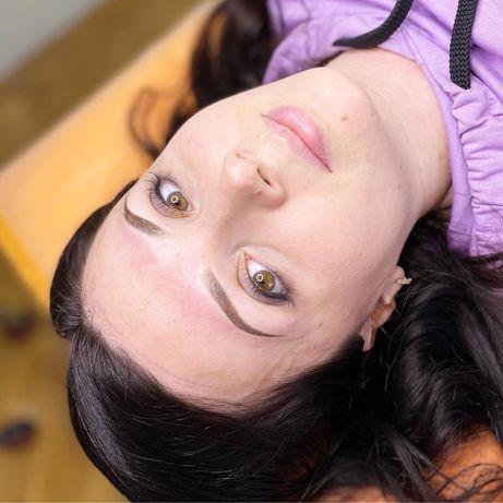 Пудровые брови Троещина перманентный макияж татуаж