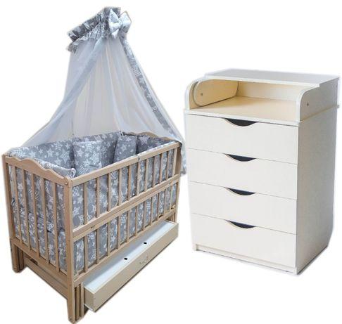 Акция! Комплект: кровать, комод, матрас кокос, постель 8 эл. Новое