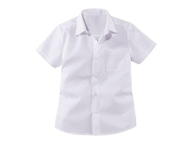Nowe 2 pak biała koszula 110 116 chłopięca 122 128 krótki rękaw 134