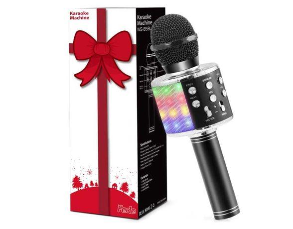 Microfone Karaoke Bluetooth Sem Fio Luzes LED Preto Gravação Novo