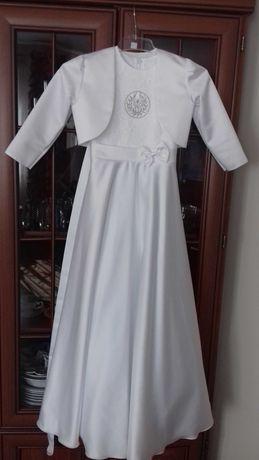 Sukienka komunijna 146 +wianek ,rękawiczki + torebka+ 2 bolerka
