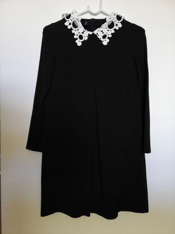 Sukienka ciążowa czarna odpinany kołnierzyk xs