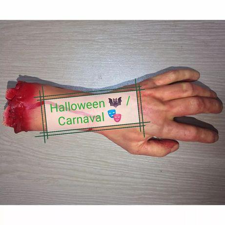 Mão falsa em borracha, carnaval e halloween, piada e partida