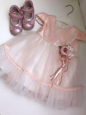 Нарядное платье платьице на годик туфлельки Geox