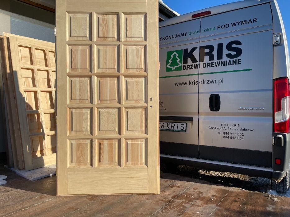 Drzwi drewniane OD RĘKI sosnowe z oscieżnicą 110X205 CAŁY KRAJ Grzybno - image 1