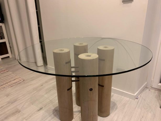 Mesa Jantar vidro e madeira