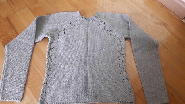 Sweterek ażurowy wzór jasne khaki S