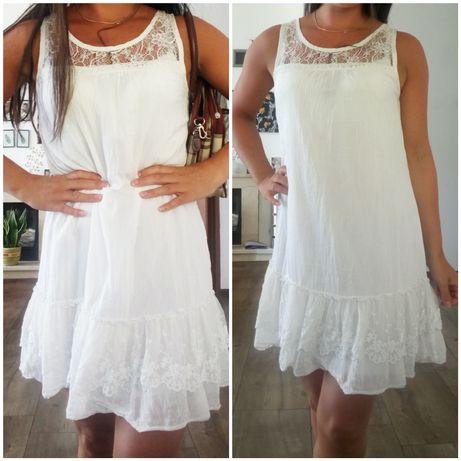 CHRISTELLE Sukienka biała falbanka koronka s