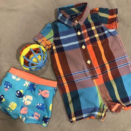 Летний набор на мальчика 3-6 мес (песочник и плавки/подгузник)