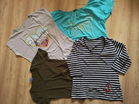 Koszulka bluzka damska XXL 44 khaki motyl paski krótki rękaw 3/4 rękaw