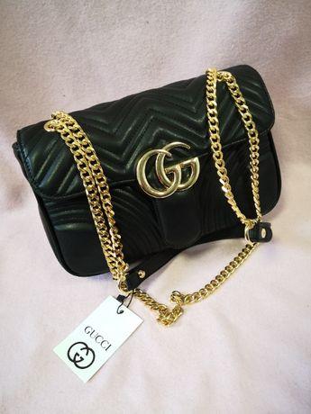 Torba listonoszka damska Gucci wytłaczana złote złoto nowość