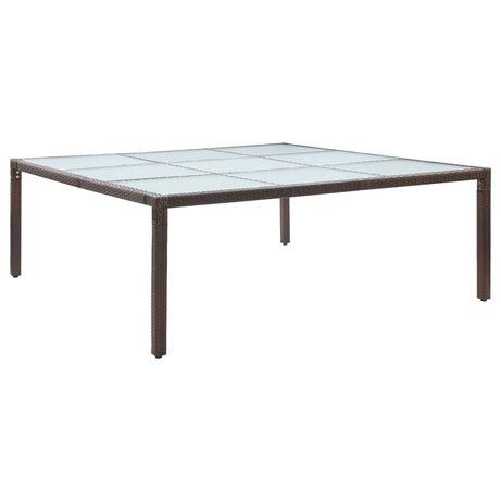 vidaXL Mesa de jantar para jardim 200x200x74 cm vime PE castanho 46131