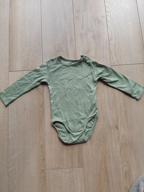 Body z długim rękawem zielone 74 cm H&M
