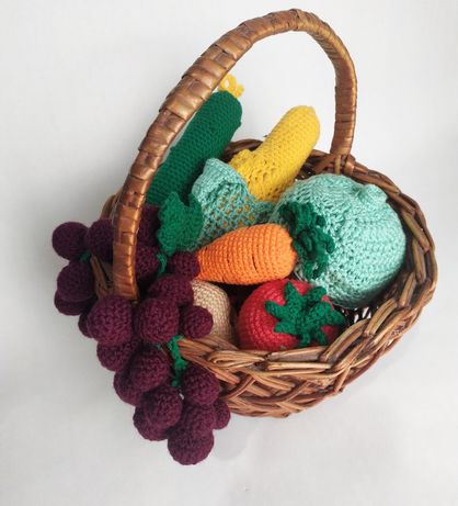 Вязанные игрушки овощи фрукты для детской кухни