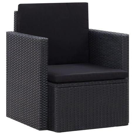 vidaXL Cadeira de jardim com almofadões vime PE preto 45782