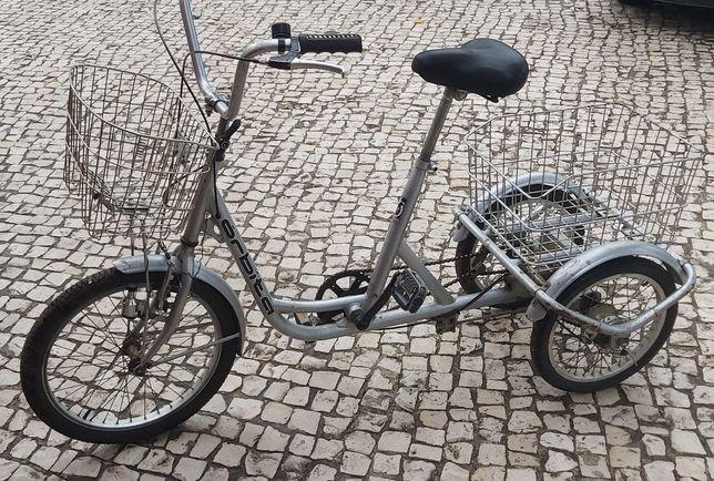 Triciclo para adulto com modulos de carga para compras.