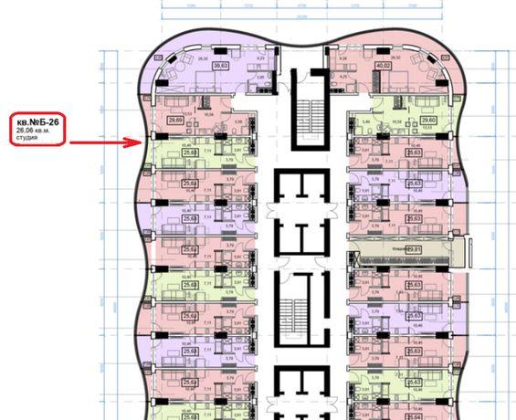 Квартира студия в Аркадии 26.06 м² (890 $) возможна рассрочка