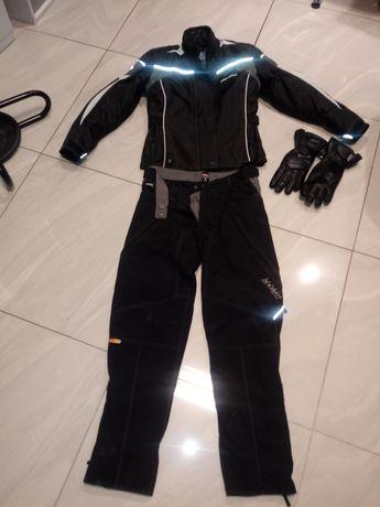 Kurtka spodnie rękawiczki na motor