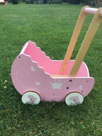 Drewniany różowy wózek dla lalek EKO