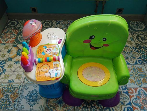 Dwujęzyczny fotelik krzesło krzesełko Fischer Price