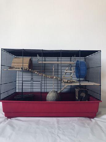 Duża klatka dla chmika/myszki z wyposażeniem