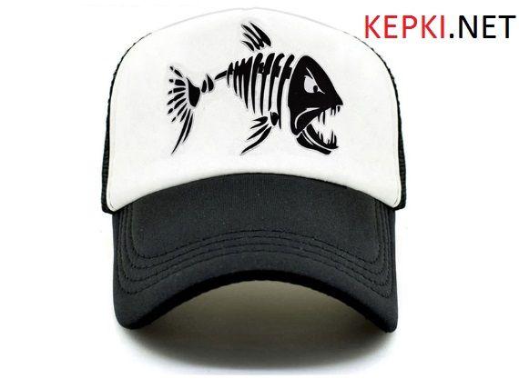 КЕПКА / ТРАКЕР / Бейсболка / со СКЕЛЕТом / Стильная кепка / DEATH FISH