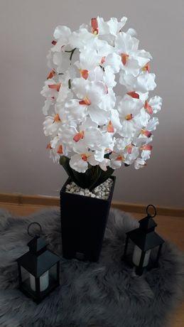 Sztuczny storczyk wysoki bialy